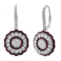 0.72ct Diamond & 0.33ct Ruby 14k White Gold Earrings