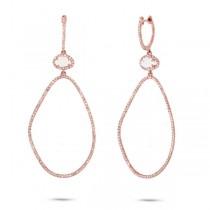 0.92ct Diamond & 0.69ct White Topaz 14k Rose Gold Earrings