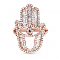 1.64ct 14k Rose Gold Diamond Hamsa Ring
