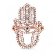 1.64ct 14k Rose Gold Diamond Hamsa Ring