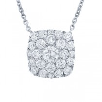 1.10ct 14k White Gold Diamond Cluster Necklace