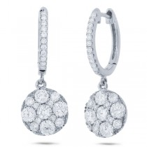 1.30ct 14k White Gold Diamond Cluster Earrings