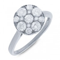 1.10ct 14k White Gold Diamond Cluster Lady's Ring