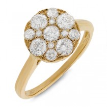 1.10ct 14k Yellow Gold Diamond Cluster Lady's Ring