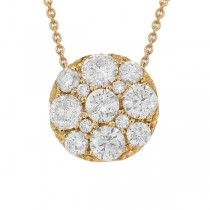 1.15ct 14k Yellow Gold Diamond Cluster Necklace