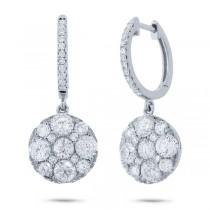 2.20ct 14k White Gold Diamond Cluster Earrings