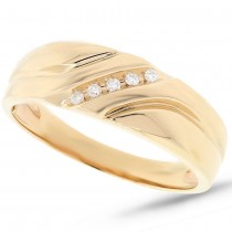 0.06ct 14k Yellow Gold Diamond Men's Band