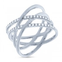 0.34ct 14k White Gold Diamond Bridge Ring