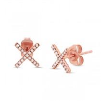 0.11ct 14k Rose Gold Diamond ''x'' Stud Earrings