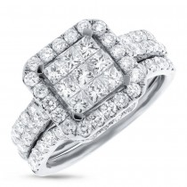 2.04ct 14k White Gold Diamond Invisible Lady's Ring 3-pc