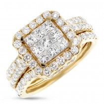 2.04ct 14k Yellow Gold Diamond Invisible Lady's Ring 3-pc