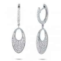 0.43ct 14k White Gold Diamond Pave Earrings