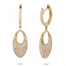 0.43ct 14k Yellow Gold Diamond Pave Earrings