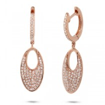 0.43ct 14k Rose Gold Diamond Pave Earrings