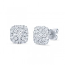 1.02ct 14k White Gold Diamond Cluster Earrings