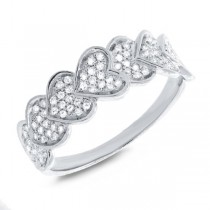 0.30ct 14k White Gold Diamond Pave Heart Lady's Ring