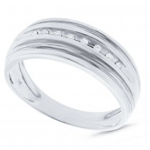 0.08ct 14k White Gold Diamond Men's Band