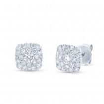 0.53ct 14k White Gold Diamond Cluster Earrings