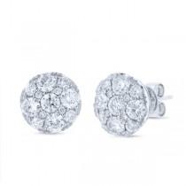 2.00ct 14k White Gold Diamond Cluster Earrings