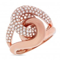 1.52ct 14k Rose Gold Diamond Knot Ring Size 6.5