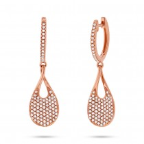 0.53ct 14k Rose Gold Diamond Pave Earrings