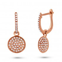 0.24ct 14k Rose Gold Diamond Pave Earrings