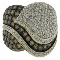 2.76ct 14k Two-tone Gold White & Champagne Diamond Lady's Ring Size 12