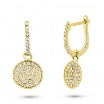 0.24ct 14k Yellow Gold Diamond Pave Earrings