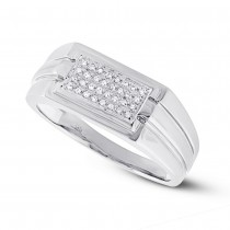 0.14ct 14k White Gold Diamond Men's Ring