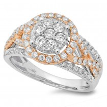 1.02ct 14k Two-tone Rose Gold Diamond Lady's Cluster Ring