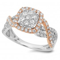 0.99ct 14k Two-tone Rose Gold Diamond Lady's Ring