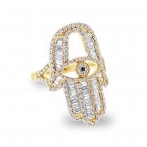 1.64ct 14k Yellow Gold Diamond Hamsa Ring