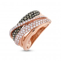 1.22ct 14k Rose Gold White & Champagne Diamond Lady's Ring