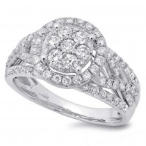 1.02ct 14k White Gold Diamond Lady's Cluster Ring