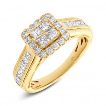 1.03ct 14k Yellow Gold Diamond Invisible Lady's Ring