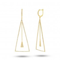 0.88ct 14k Yellow Gold Diamond Triangle Earrings