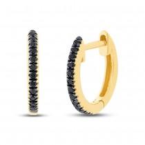 0.07ct 14k Yellow Gold Black Diamond Huggie Earrings