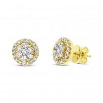 1.13ct 18k Yellow Gold Diamond Cluster Stud Earrings
