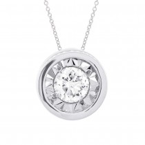 0.20ct 14k White Gold Diamond Round Solitaire Pendant Necklace