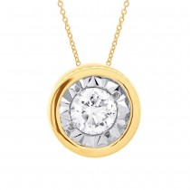 0.20ct 14k Yellow Gold Diamond Round Solitaire Pendant Necklace