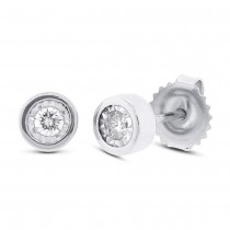 0.14ct 14k White Gold Diamond Round Stud Earrings