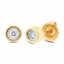 0.14ct 14k Yellow Gold Diamond Round Stud Earrings