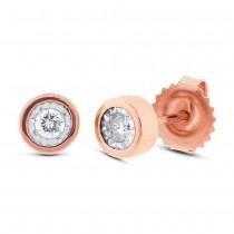 0.14ct 14k Rose Gold Diamond Round Stud Earrings