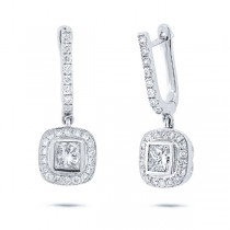 0.78ct-ctr(princess) 0.53ct-side 14k White Gold Diamond Earrings