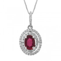 0.33ct Diamond & 1.20ct Ruby 14k White Gold Pendant Necklace