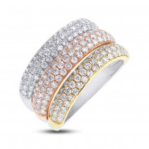 1.88ct 14k Three-tone Gold Diamond Pave Lady's Ring Size 8