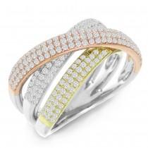 1.00ct 14k Three-tone Diamond Bridge Lady's Ring Size 4.75
