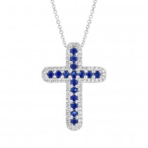 0.21ct Diamond & 0.44ct Blue Sapphire 14k White Gold Cross Pendant Necklace