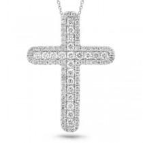 0.81ct 14k White Gold Diamond Cross Pendant Necklace