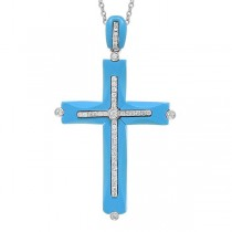 0.28ct 14k White Gold Diamond & Composite Turquoise Cross Pendant Necklace